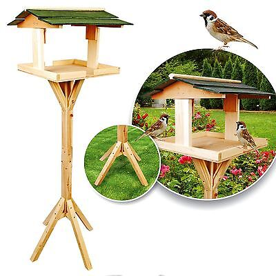Free Standing Traditional Wooden Bird Table Garden Birds Feeder Feeding Station