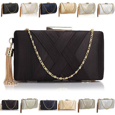 Designer Ladies Womens Hard Compact Satin Evening Clutch Bag Bridal Prom Bag UK