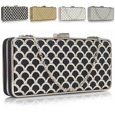 New Boxed Ladies Designer Womens Wedding Bridal Evening Clutch Bag Prom Party UK