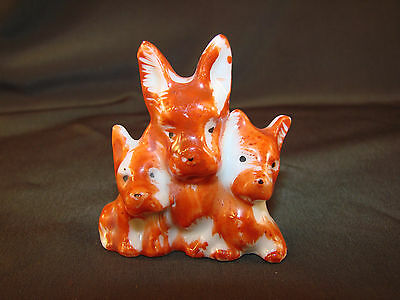 "Vintage Trio Scott Terrier Puppy Dog Figurine JAPAN Porcelain 2 1/4""T Small STK2"