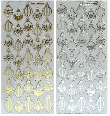 CHRISTMAS MINI BAUBLES Peel off Stickers Gold or Silver Metallic on clear