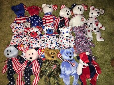 TY Beanie Babies Red White Blue Hero America Patriot Spangle USA Glory Liberty