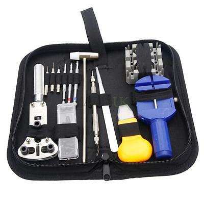 Watch Assembly Opening Link Repair Tools Kit with Spring Bar Hammer Carry Base