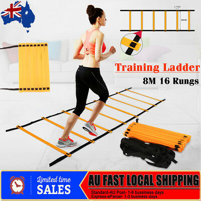 Agility Ladder Speed Sport Training 8M Soccer Fitness Boxing 16 Rungs Bag