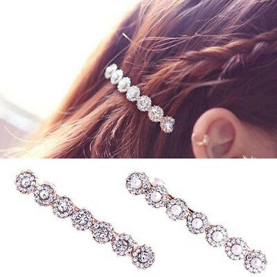 Women Hairpin Pearl Rhinestone Hair Clip Barrette Ball Headwear Jewelry Home