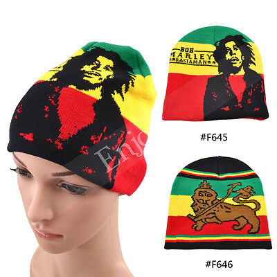 Bob Marley Jamaican Knitted Hat Cap Hip Hop Hedging Beanie Multi-Colour Gift 1X