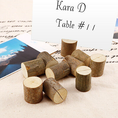 10x Wedding Place Cards Wooden Name Table Number Holder Vintage Decoration Label