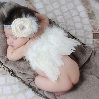 Newborn Baby Beige Feather Angel Wing+Flower Headband Photography Props White