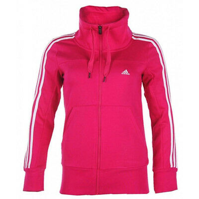 Adidas womens pink cotton blend 3 stripe fleece track top jacket M66286  XXS XS