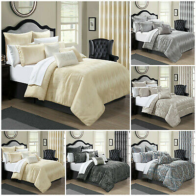 Luxury Bedspread 3Piece Jacquard Quilted Bed Spread Comforter Set: Double & King