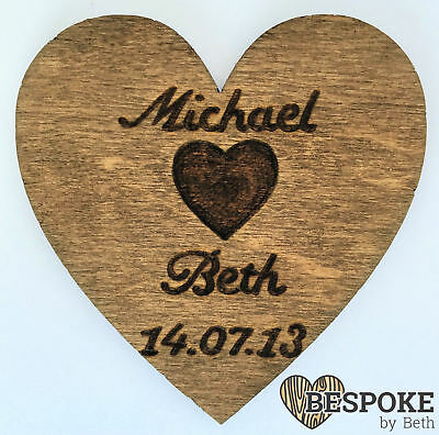 Personalised Wooden Heart Fridge Magnet 5th Anniversary Keepsake Valentines Gift