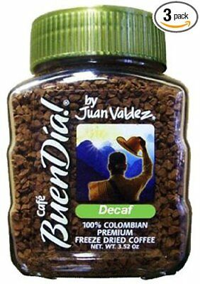 3 X BuenDia 100%Decaf. Colombian Freeze Dried Coffee by Juan Valdez