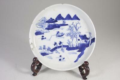 Antique Chinese Qing Dynasty Blue And White Hand Painted Plate Signed
