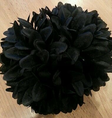 Big khaleeji clip hijab big flower clip scarf shawl volumizer 16cm - Black