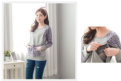 casual comfy cotton Hearts pattern maternity nursing breastfeeding Top sweater