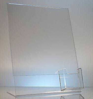 Clear acrylic 8.5x11 display sign holder with vertical business card holder