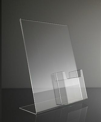 Clear acrylic 8.5x11 sign holder display with tri fold brochure holder
