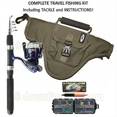 Complete Namazu Mini Telescopic Travel Fishing Rod Reel Bag Tackle, Instructions