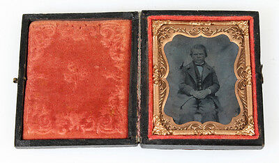 Ambrotype Portrait Of Stern Well-Dressed Young Boy In Original Case