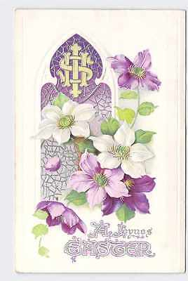 Antique Postcard Easter Flowers Religious Stained Glass Window Clematis Silver E