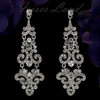 Rhodium Plated Clear Crystal Rhinestone Wedding Bridal Drop Dangle Earrings 9160