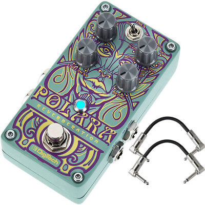 Digitech Polara Stereo Reverb True Bypass Guitar Effect Pedal w/ Patch Cables