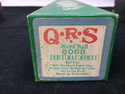 """Vintage QRS Player Piano Word Roll """"Christmas Hymns"""" 6068 Frank Milne"""