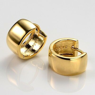 Women's Earrings 18k Yellow Gold Filled 14mm Charms Hoops Fashion Jewelry Gift
