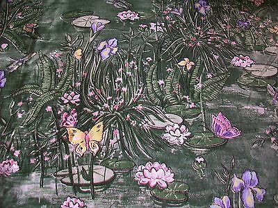 Lilypads And Butterflies On Green Cotton Quilt Fabric
