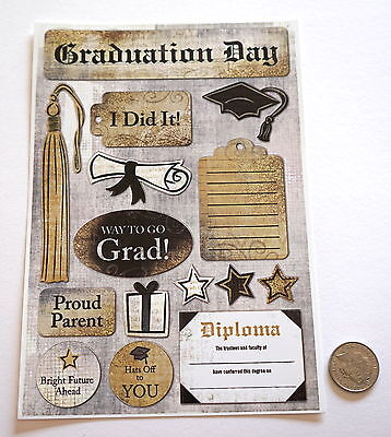 Scrapbooking No 313 - 15 Graduation Day Cardstock Sayings Stickers
