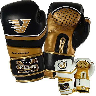 VELO Leather Boxing Gloves Fight Gel Shock Punch Bag mma Muay thai Kick Pad