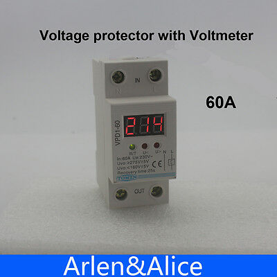 60A 220V over and under voltage protective device relay with voltmeter