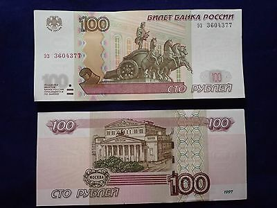 Lot of 10 1997 100 Russian Ruble Banknote Modern-Day Russian Rubles Currency