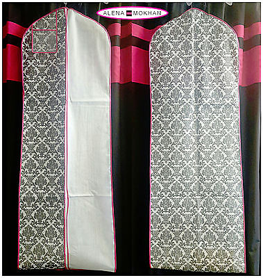 Fuchsia Piping Breathable Black White Damask Wedding Gown Prom Dress Garment Bag
