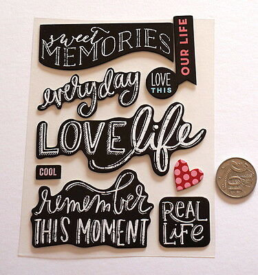 Scrapbooking No 457 - 9 Black & White Chipboard Saying Stickers - Mixed Pack