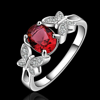 Fashion Jewelry Women Silver Ruby Crystal Engagement Wedding Ring Size 7 8F