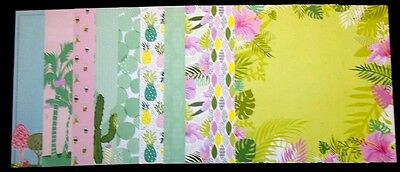 "10 Colourful Scrapbooking/Cardmaking Papers*TROPICAL OASIS* - 30mx30cm (12""x12"")"