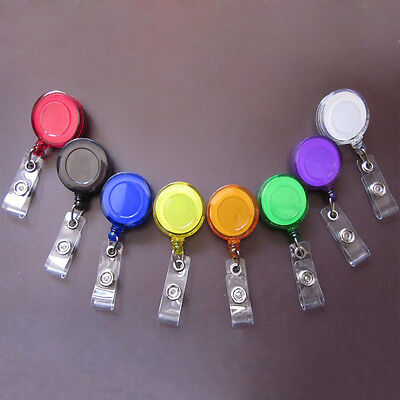 5pc Retractable Reel Recoil ID Badge Lanyard Name Tag Key Card Holder Belt Clip