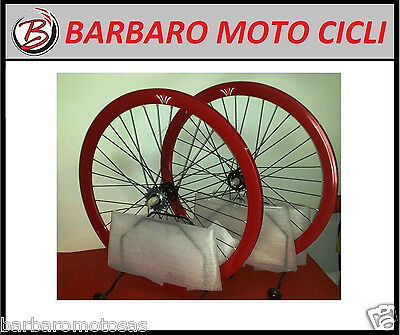 Coppia Ruote Wheel Single Speed Bici Bike Scatto Fisso Fixed Rosso 28''