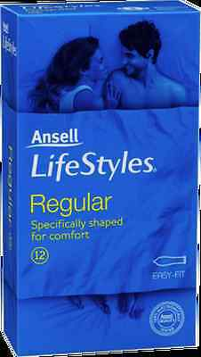 Bnib Ansell Lifestyles Condoms Regular 12 Pack Easy Fit