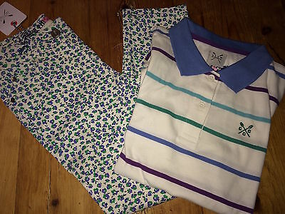 CREW CLOTHING Floral Jeans & Polo Shirt Set Age 8 - 9 RRP£54 Free UK P&P
