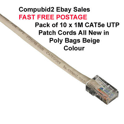 PACK 10x Cat5e UTP Patch Cord 1m Beige Ethernet Cables RJ45 to RJ45 Network Lead