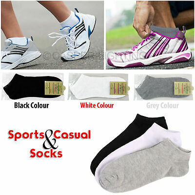 3 Pairs Mens Womens Home Work Trainer Liner Ankle Cotton Rich Sports Gym Socks