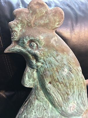 19th Century Rooster Weathervane L.W Cushing A+Verdigris & Farm Patina 1870-1890