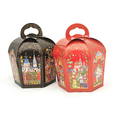 Gift Paper Boxes for Orthodox/Russian Easter Cake/Kulich, Bright Palekh, d16cm