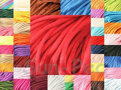 Satin Rattail Cord Chinese Knotting Macrame Rope 2.5mm 5-20yrds Silky DIY 40clrs