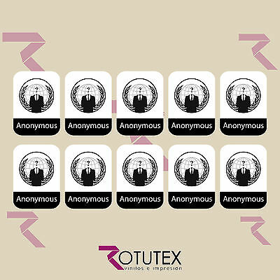 10 X Anonymous Hacktivist Sticker Logo Badge Decal For Pc Laptop Hd Quality