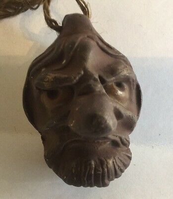 Antique Chinese Japanese Warlock Comical Figural Pottery Bell