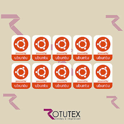 10 X Powered By Ubuntu Linux Sticker Logo Badge Decal For Pc Laptop Hd Quality