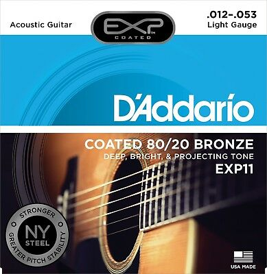 D'Addario EXP11 Coated 80/20 Bronze 12-53 Light Acoustic Guitar Strings